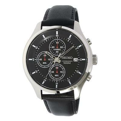 Seiko SKS539P2 100m Leather Strao Chronograph Stopwatch Date Watch RRP £199