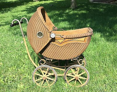 Antique WICKER Baby / Doll BUGGY Stroller Carriage Wood Panels Spokes PICK UP