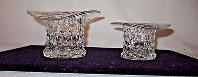 "2 Fostoria American Pattern Glass Top Hat bowls - 3"" & 2 1/2"""