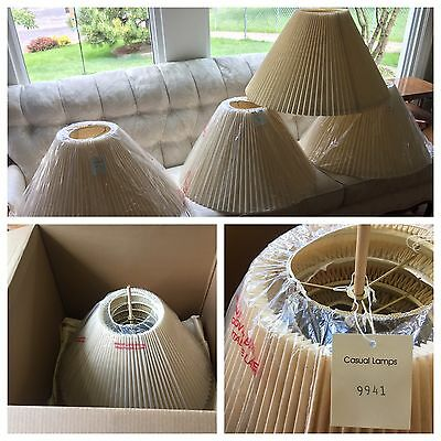 NEW, 4 Vintage Casual Lamps of California Pleated Lampshades 2 Pair RARE Lot MCM