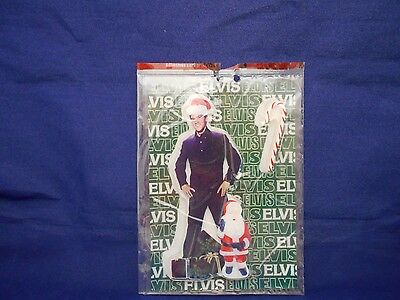 Elvis Standing with presents and Santa  Window Clings