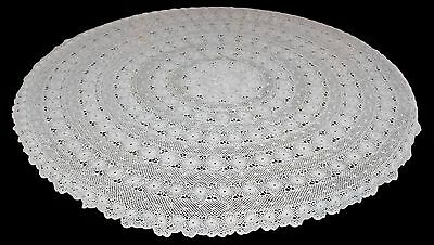 Vintage Hand Made Round Lace Crochet Cotton Tablecloth