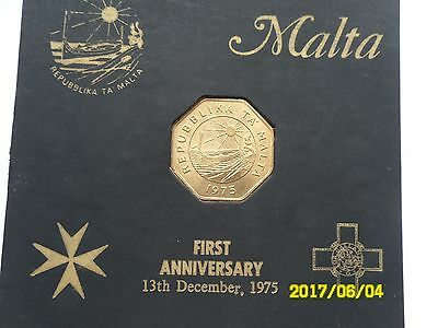 Malta - First Anniversary 25 Cents 1975 Gift Card