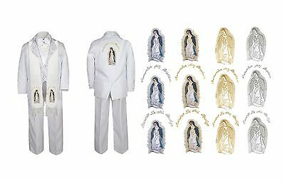 Boy Christening Baptism White Suit Guadalupe Maria Virgin Mary Stole Back Sm-7