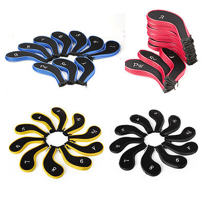 10pcs Padded Golf Club Iron Head Covers Headcovers Protector Case Sock Set