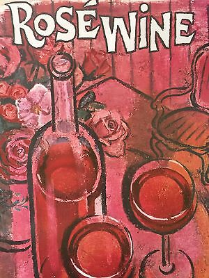 Vintage California Rose Wine Poster Lithograph