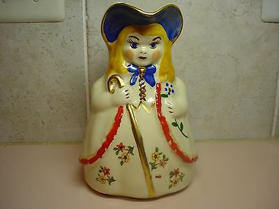 Shawnee Pottery Little Bo Peep Figural Water Pitcher With Gold Trim and Decals