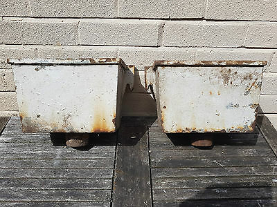 Two Old Vintage Cast Iron Rain Water Hoppers.