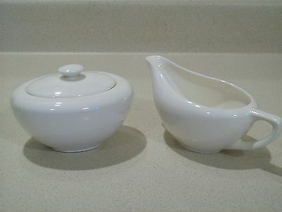 Vintage Knowles China Accent Shape Creamy White 1950's Creamer & Sugar Bowl
