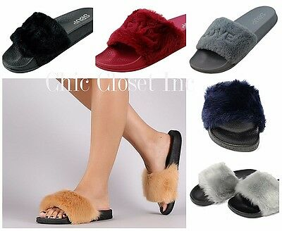 Women Fur Slipper Slides Furry Sandals Shoes Flip Flop Low Flat Heels Slip On