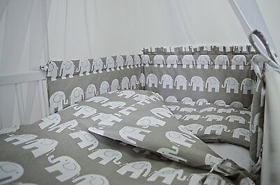 GREY ELEPHANT 5 Pcs Baby Nursery Bedding Set fit Cot 120x60 or Cot Bed 140x70cm