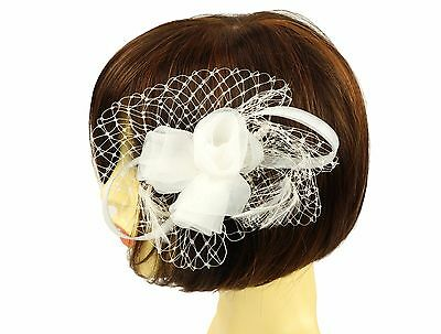 Debut White  Floral Feather Mesh Bow Loop Hair Comb Fascinator   Wedding