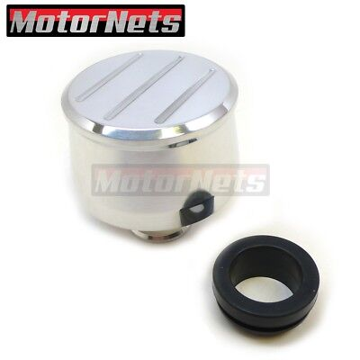 """Polished Aluminum Push in Valve Cover Breather Cap with 1"""" Neck Ball Milled Top"""