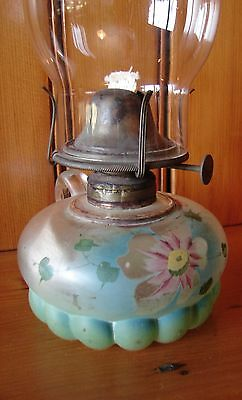1890-09 US Glass Painted Floral Late Petal Pedestal Hand Finger Night Oil Lamp