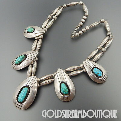 Vintage Navajo Sterling Silver Turquoise Tear Drop Shadowbox Beaded Necklace