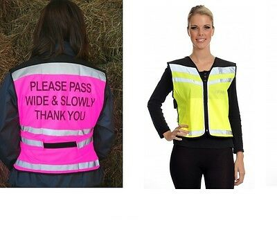 SALE EQUISAFETY AIR WAISTCOAT HI VIS tabbard florescent winter safety polite