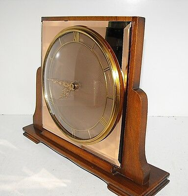 "Art Deco Timber Peach Mirrored 8 Day Wind up Mantel Clock ""Rare And In GWO"""
