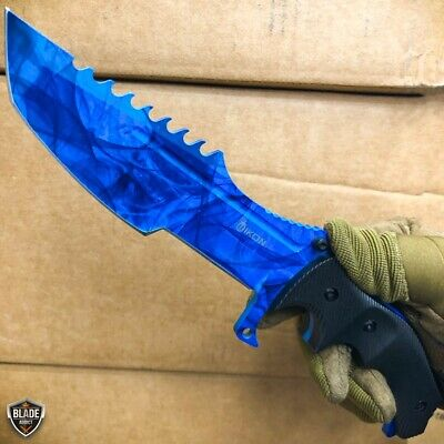 CSGO Tactical Hunting Fixed Blade Combat Survival Bowie Military Knife - Blue