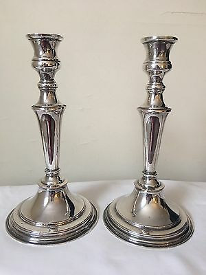 """Traditional Silverplate Weighted Candlesticks Marked 11"""" Silver Plate"""