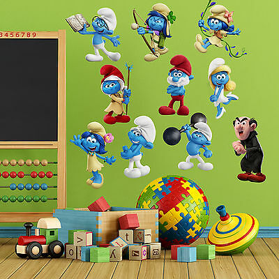 The Smurfs Kids Boy Girls Bedroom Vinyl Color Wall Decal Art Sticker Gift New