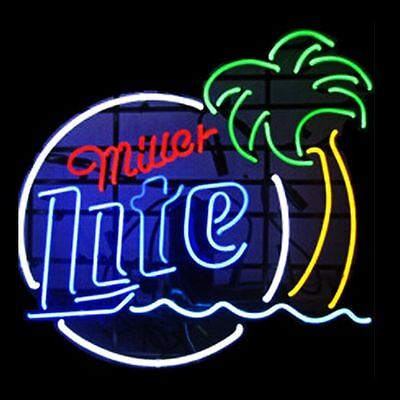 New miller lite beer bar neon sign 20x16 ship from usa 12499 new miller lite palm tree beer bar light artwork laamp neon sign aloadofball Gallery