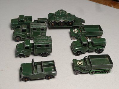 Collection of Lesney Military Die Cast Vehicles, 8 Total, With Tank Carrier!