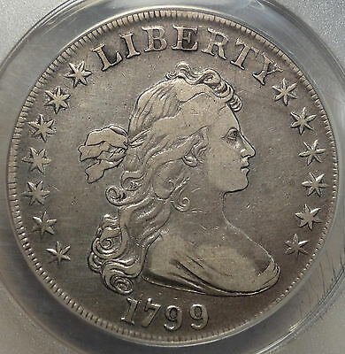 1799 Draped Bust Silver Dollar, Choice Very Five, ANACS VF-35 Certified