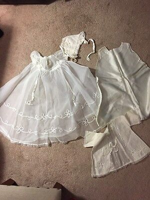 Vintage 4 Piece Infant Baby Baptism Christening Gown Dress 0-12 Months Pre Owned