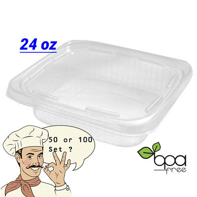 24oz Deli Food/Soup Take Out Clear Containers w/ Lids Tamper-Evident BPA free DD