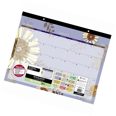 """AT-A-GLANCE Desk Pad Calendar 2017, Monthly, 21-3/4 x 17"""", Paper Flowers (5035-1"""
