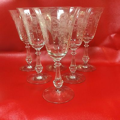 """Set of 6 Cambridge ROSE POINT Tall Water Goblets, Wine Glass 7 3/8"""""""