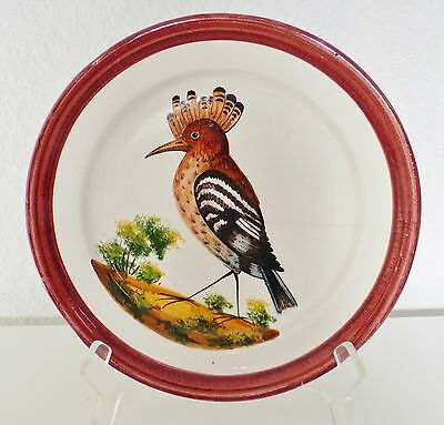 Vintage Rare Hand Painted Bassano Pottery Italy Plate Bird Red Brown 1 Of 4