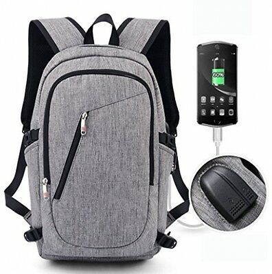 High School Backpack Laptop Book Bag With USB Charging Headphone Port Grey