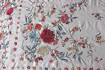 Antique c1890 Silk Embroidered Canton de Manila/Chinese Handmade Piano Shawl-res