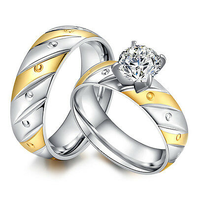 6MM Gold&Silver Lovers Cz Band Stainless Steel Wedding Gift Couple Ring Size 6-9