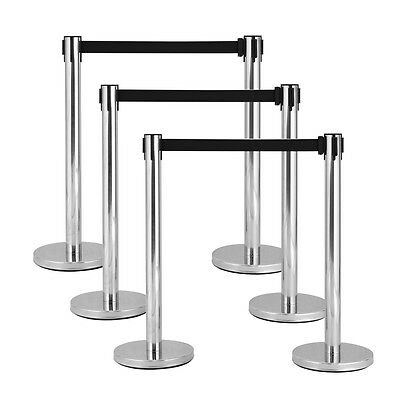6 Black Belt Stanchion Queue Rope Barrier Posts Stand Retractable Polished Steel
