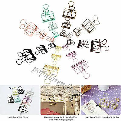 Hollow Metal Binder Clips Steel Wire Craft Paper Photo Hanging Stationery Folder
