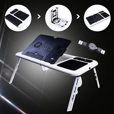 Portable Folding Laptop Desk Computer Table Adjustable Stand For Bed Black&White