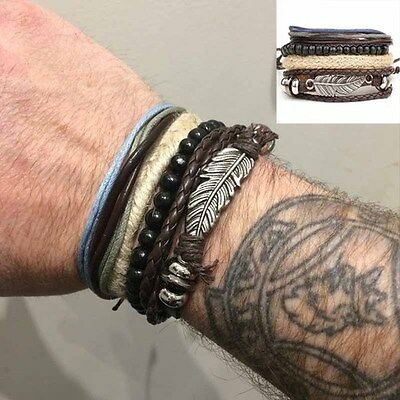 Men's Braided Bangle Jewelry Leather Stainless Steel Cuff Bracelet Wristband NEW