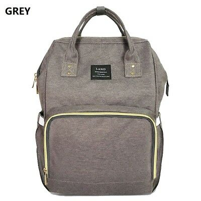 Grey LAND Fashion Nappy Mummy Backpack Diaper Bag Baby Newborn Tote Shoulder Bag