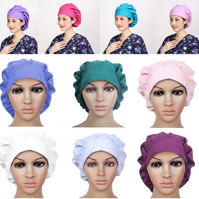 Womens Hospital Scrub Cap Doctor & Nurses Solid Medical Surgical Surgery Hat
