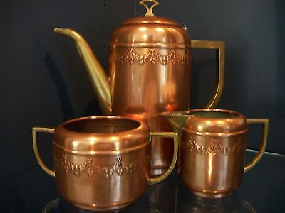Vintage Copper and BrassTeapot, Creamer and Sugar Bowl Set with Decoration