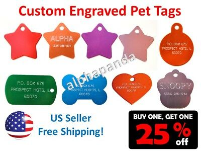 Customized Engraved Personalized Pets Names Tags IDs Dogs Cats Collars 2-SIDES