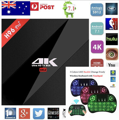 H96 Pro+ Wifi 3G+32G S912 Octa 8 Core Android 17.3 Tv Box + i8 Keyboard AU STOCK