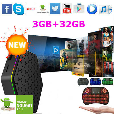 T95z Plus Wifi 3G+32G S912 8 Core Android 7.1 17.3 Tv Box + i8 Backlit Keyboard