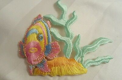 #3457 Tropical Fish,Coral Fishing Embroidery Iron On Applique Patch