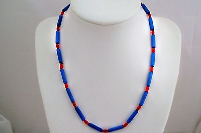 Blue & Red Mother Of Pearl Surf Necklace Choker Easy Bead Kit Project AUS SELLER