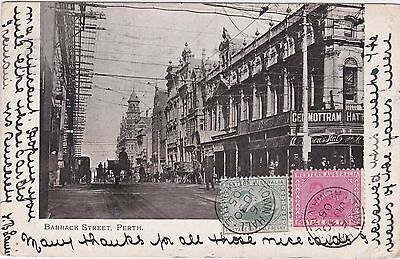WA15) Western Australia 1905 undivided back Sepia Picture Postcard of Barrack St