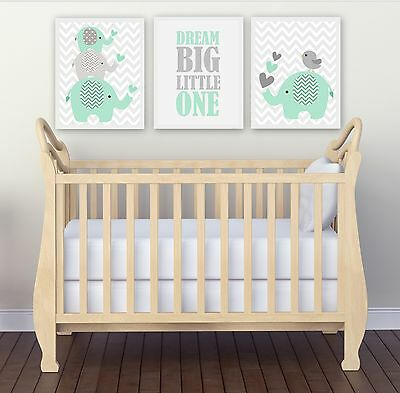 SALE!!!!! Nursery Wall Art Print ~ Dream Big Mint Elephants ~ 3 pce set