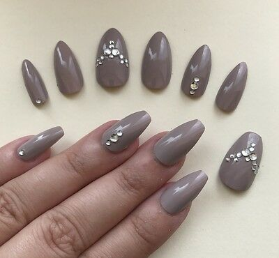 Hand Painted False Nails - ANY SHAPE. Gloss Nude Taupe Gems. Stiletto Coffin. UK
